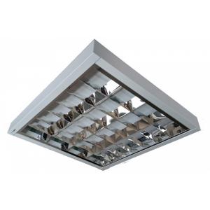 Luminaria fluorescente de sobrepor com refletor e aletas em aluminio FL 209/416 s/ aloj